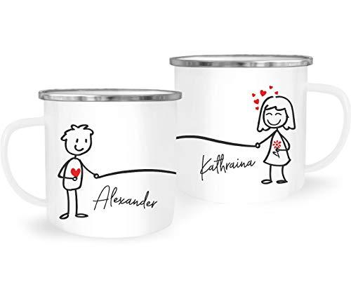 SpecialMe® Emaille-Tasse mit Namen Liebes-Paar Strichmännchen Motiv personalisierbar Liebesgeschenke Valentinstag Weihnachten (1 Tasse) Variante 2 weiß-metall Emailletasse