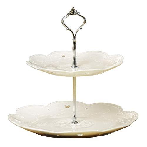 Keramische kom kommen Vaatwasser Keramische dubbele laag fruitplaat, witte Europese holle brood snoep taart dessert buffet verticale snack tray display rack opslagmand, grootte [26.7 * 26.5 * 20.3cm] voor kit Bronze Rod