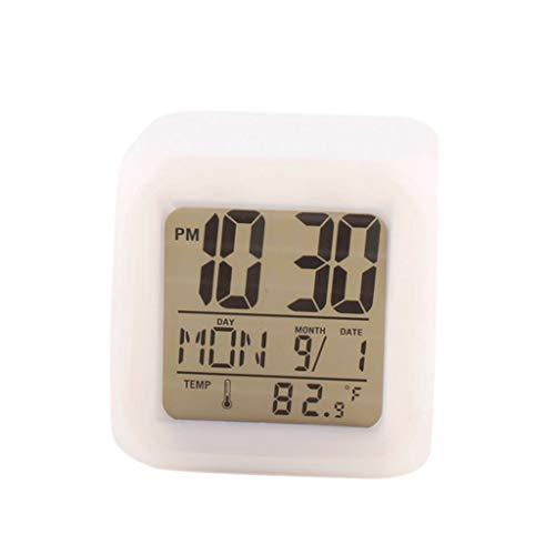 Luccase LED Wecklicht 8 * 8 * 8 cm Kunststoff Wecker Coole LED-Uhr Muster Nachtlicht Farbe Uhr 7 Farbwechsel Wecker mit LCD-Bildschirm für Kinder, Erwachsene