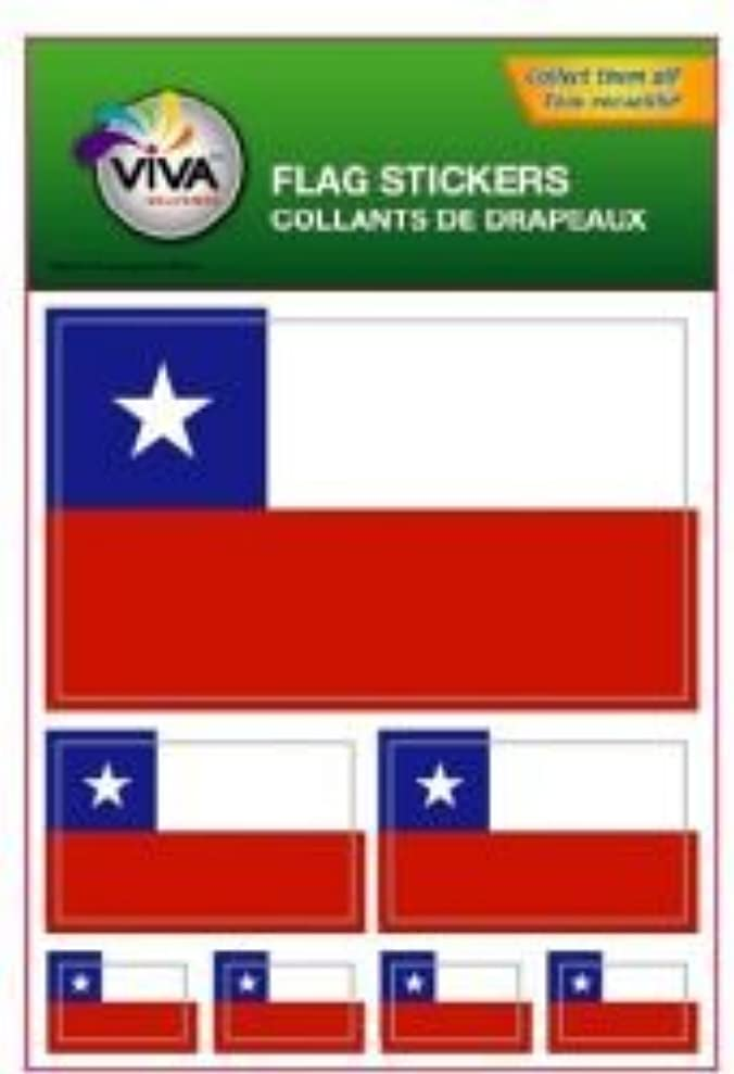 Set of 7 Vinyl Car Stickers, 3 Sizes - Chile Flag adnpksvto1864