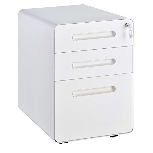 Vinsetto Rollcontainer, Aktenschrank, Bürocontainer mit 3 Schubladen, Büroschrank, Aufbewahrung, Container, Stahl, Weiß, 39 x 48 x 59 cm
