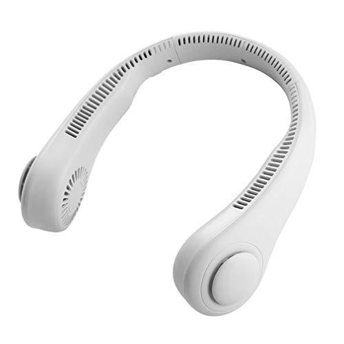 Ventilador de Cuello Colgante poroso Mini Ventilador portátil Perezoso Sin Hoja Ventilador eléctrico silencioso USB Blanco