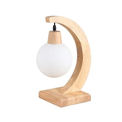 Lfixhssf schaduw massief houten tafellamp modern American village glas decoratieve oogbescherming warm licht Retro Studio slaapkamer bedlampje E27 LED bureaulamp Lfixh