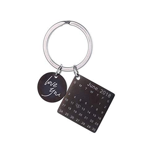 Jewelry meiqi Personalisierte Kalender Datum Schlüsselanhänger benutzerdefinierte gravierte Schlüsselring für Memorial Hochzeitstag Geschenk