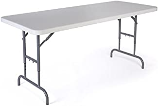 Displays2go Adjustable Height Folding Table, 6 Foot, Adjusts from 26-32 Inches, Folds in Half, White Plastic