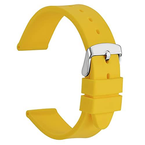 WOCCI 22mm Silicone Cinturini per Orologi con Fibbia Color Argento, Sportivo Cinturinio di Ricambio (Giallo)