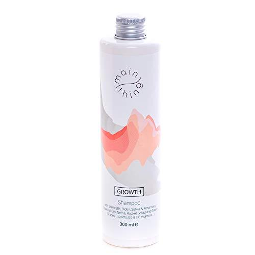 Main Thing - Shampoing sans sulfate, stimule la croissance des cheveux et anti-chute, avec des cellules souches de raisin vert, des huiles essentielles, des extraits de plantes et vitamines, 300 ml