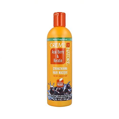 Creme Of Nature Crème de la nature Acai Berry & Kératine Renforcement de cheveux pour Masque à sec Abîmés 12 oz