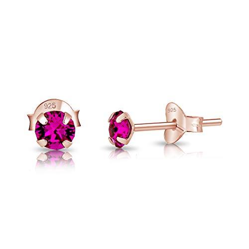 DTPsilver - Semental Pendientes/Aretes de Plata de Ley 925 Chapado en Oro Rosa con Cristal Swarovski® Elements Minúsculo Redondo - Diámetro: 4 mm - Color: Fucsia