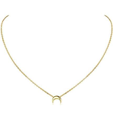 ChicSilver Collar Luna Media Mujeres Colgante Pequeño Plata de Ley 925 Oro Amarillo 18K Joyerías Simples y Elegantes Cadena de Clavícula para Cuello