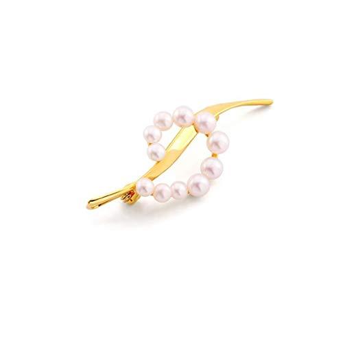 Brooch Broche de hebilla para jersé; pequeño aroma de perlas naturales para mujer, de gama alta, accesorio de ramillete de temperatura fijo (color: dorado, tamaño: 5,1 x 2,1 cm)