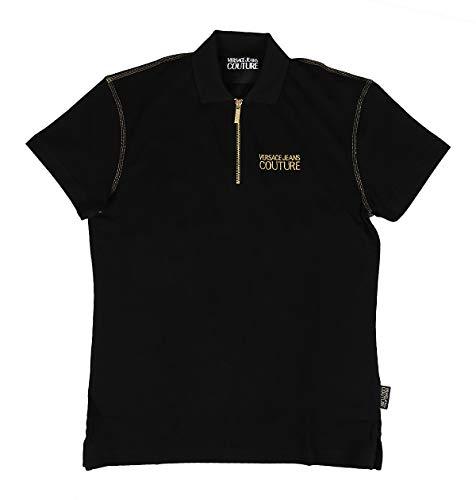 Versace Jeans Couture Slim Fit Zip Neck Polo Shirt XL Black