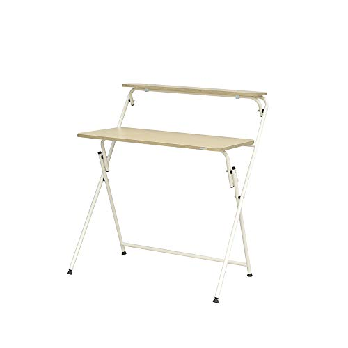 SOFSYS Modern Folding Desk for Small Space, Computer Gaming, Writing, Student and Home Office Organization, Industrial Metal Frame with Premium Desktop Surfaces, Oak/White