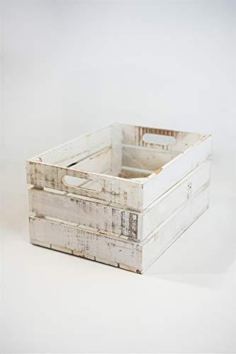 Caja Blanca Vintage de Almacenamiento con Asas Sam, Madera, Blanco Vintage,1 Unidad, 35x2x20cm. Incluye Imán Personalizable.