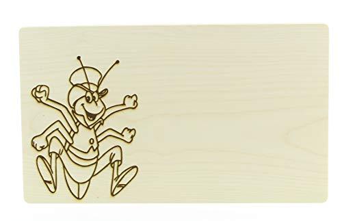 KMC Austria Design Schneidebrett mit Gravur, Brotzeitbrett Jausenbrett Holz AHORN, Küchenutensilien, Motiv Biene Maja - Flipp