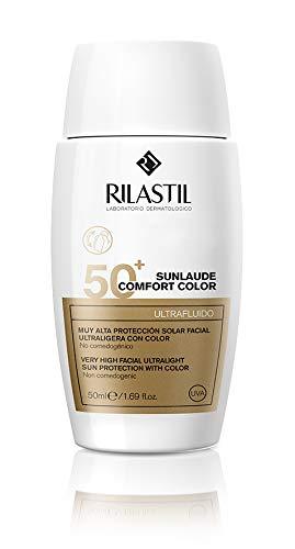 Rilastil Sunlaude Comfort - Ultrafluido Facial con Color y Protección Solar SPF 50+, 50 ml