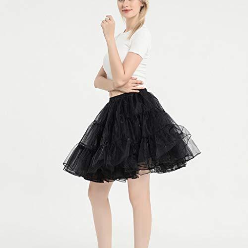 QinMMROPA Falda de Tul tutú para Mujer Falda Plisada De Cintura Alta Falda de Baile Danza Vintage Falda Carnaval Baile Latino Ballet Negro Talla única