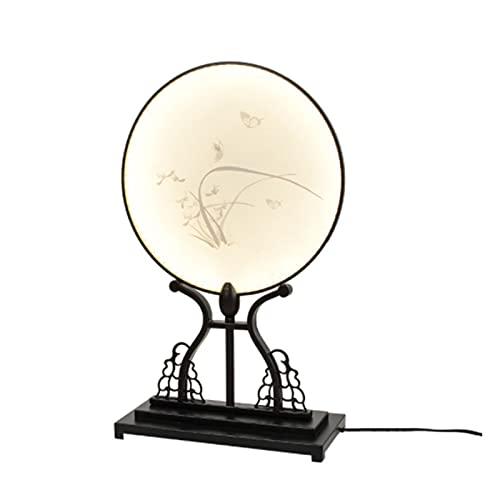 JAKROO Lámpara de Mesa Zen de acrílico Chino Moderno, lámpara Decorativa de Pintura de Tinta de Estilo Chino Retro, Adecuada para Sala de Estar, Dormitorio, Lugares de Ocio y Entretenimiento