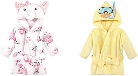Hudson Baby Girl Plush Animal Face Bathrobe 2-Pack, White Elephant Scuba Duck