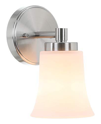 XiNBEi Lighting Aplique de pared, lámpara de pared para tocador de baño individual con vidrio, acabado en níquel cepillado para pasillo y dormitorio XB-W1235-1-BN