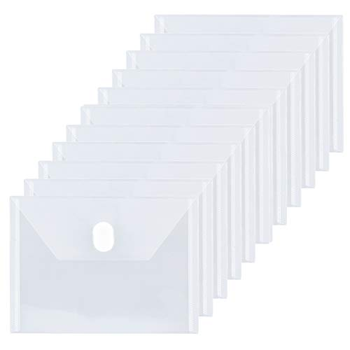 FANWU 12 Packs Small Plastic Envelopes Reusable Envelopes with Hook & Loop Closure - Index Size 5 x 7 Poly Envelops for Receipt Coupon Photos Cards Stickers (Clear 12 Pack)