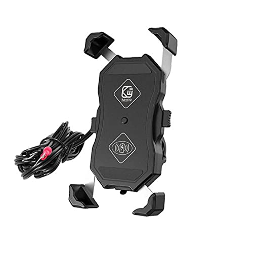 FeelMeet Teléfono Inalámbrico Titular de Carga del Cargador de la Motocicleta Soporte Cargador de Carga rápida USB 15W para el teléfono móvil de la Motocicleta Negro