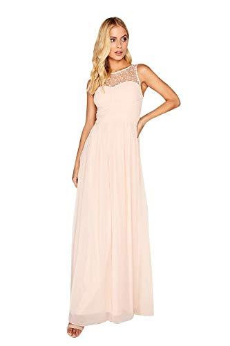 Little Mistress Damen Diamanté and Faux Pearl Maxi Dress Partykleid, Pink (Nude 001), 36