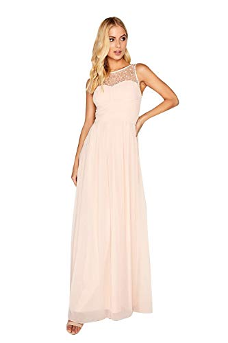 Little Mistress Womens/Ladies Nude Embellished Top Maxi Dress (10) (Nude)
