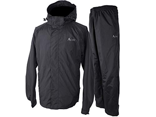 Acme Projects Rain Suit (Jacket + Pants), 100% Waterproof, Breathable, Taped Seam, 10000mm/3000gm, YKK Zipper (Men's, X-Large, Black)