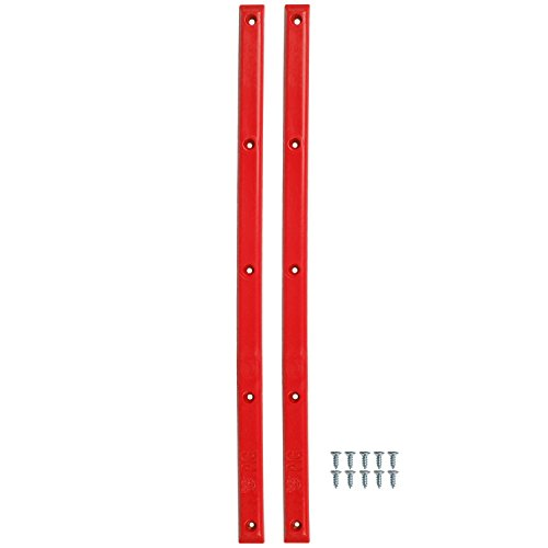"Pig Skateboard Rails 14.25"" With 10 Wood Screws Mutiple Colors (Red)"