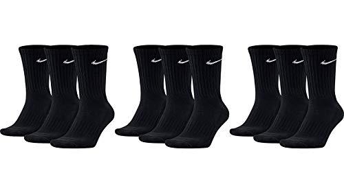 Nike 9 Paar Herren Damen Socken SX4508 weiß oder schwarz oder weiß grau schwarz, Sockengröße:34-38, Farbe:3 x schwarz