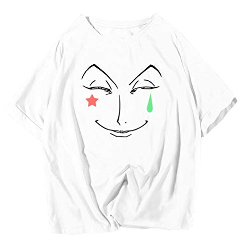 HUNTERxHUNTER ハンターxハンター ヒソカ 半袖Tシャツ 似顔絵風デザイン (XL, 白色)