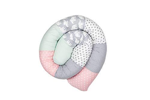 ULLENBOOM ® Baby Bettschlange 200x13 cm Elefant Mint Rosa (Made in EU) - Nestchenschlange für das Babybett, Bezug: 100% ÖkoTex Baumwolle, Bettrolle zur Bettumrandung im Kinderbett, Motiv: Sterne
