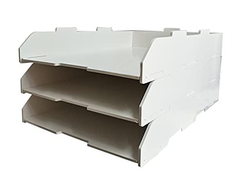 A3レターケース 横/縦型 深型 2段/3段/4段式 書類ケース デスクトレー 収納ラック オフィス リビング収納 整理整頓 小物収納 積み重ね 頑丈 おしゃれ 文房具 組立簡単 (縦型&3段)