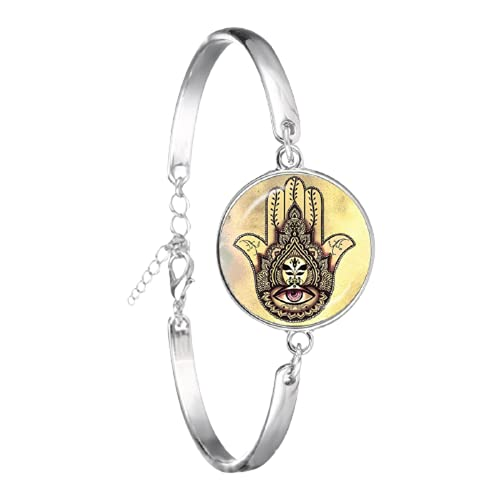 Pulsera de cadena de mano Hamsa vintage de cristal de ojo malvado cabujón chapado en plata encantos de Fátima joyería para mujeres regalo