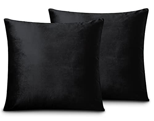 FARFALLAROSSA Lot de 2 housses de coussin carrées en velours, avec fermeture éclair invisible renforcée, idéal pour coussin de canapé, convient à toutes les saisons, couleur unie 60 x 60 cm