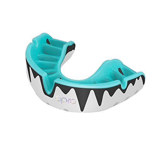 Opro Platinum Adult Mouthguard - Gum Shield for Rugby, Hockey, MMA, (Mint/Pearl/Black)