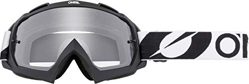 O'NEAL | Fahrrad- & Motocross-Brille | MX MTB DH FR Downhill Freeride | Hochpräzise 3D geformte Linse, Schlagfestigkeit, 100% UVA/B/C-Schutz | B-10 Goggle | Unisex | Schwarz Weiß Clear | One Size