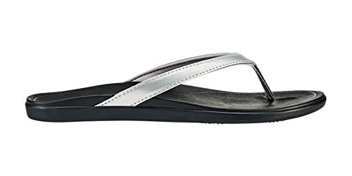 OLUKAI Women's Ho'Opio Sandals, Silver/Black, 9