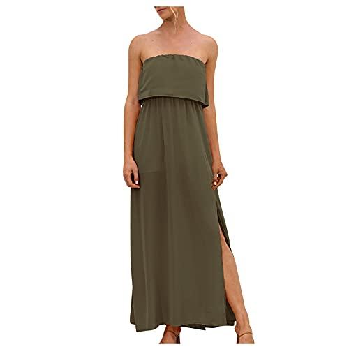 Liably Vestido de verano para mujer con hombros descubiertos, sexy, con volantes, sin tirantes, estilo bohemio, ligero, fino, para el tiempo libre, para fiestas, Verde militar., XL