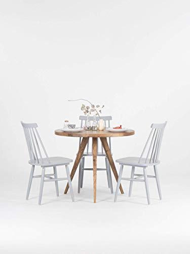 Runder Esstisch, rustikaler Küchentisch aus massivem Eichenholz, skandinavischer Tisch
