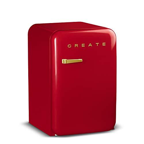 CREATE Retro Fridge GOLD- Frigorífico con diseño, Control de Temperatura Ajustable, Estética Vintage, Clase Energética A+ (Rojo, 83.5 cm)