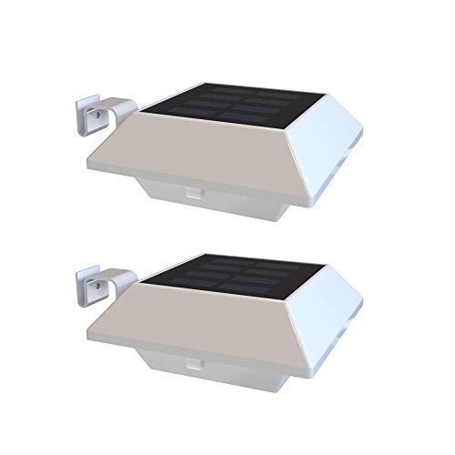 NARUJUBU Solar Gutter Lights Outdoor 2 Pack LEDs Beveiliging Wandlampen Zonne-energie Wit Lichtverlichting voor tuin