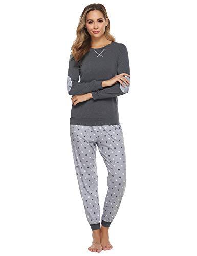 Hawiton Pijamas Mujer Invierno, Pijamas de algodón,Mangas Larga Camiseta y Pantalones de Lunares ondulados Conjunto de Ropa de Dormir 2 Piezas,Tallas Grandes, Gris Oscuro,S