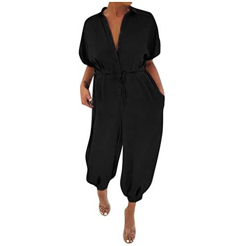 Kecar Jumpsuit Rompers for Women, Women Leopard Print Lapel Slim Long Button Rompers Short Sleeve Jumpsuits, Women Pants (Black 3XL)