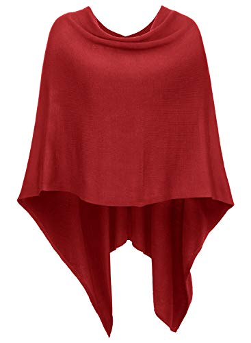 DJT Damen Poncho Tolles Accessoire Vorne Kurz Hinter Lang Design Umhange Rot One Size