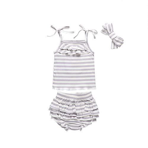 Julhold Conjunto de chaleco para bebé recién nacido sin mangas a rayas acanaladas con estampado de chaleco+cintura alta con volantes y diadema