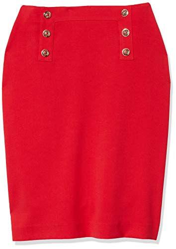 Tahari ASL Women's Fitted Pencil Skirt with Buttons, Red, 4