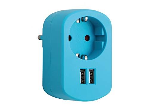 Simon Brico Cl118130 - Adaptador combi 1 toma 16a 250v + 2 usb 2.1a azul caribe
