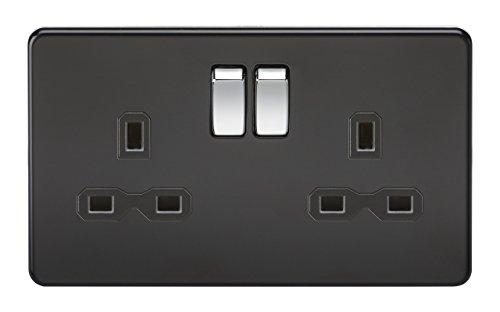 Knightsbridge SFR9000MB Double Prise de Courant sans vis 13 A 2 G DP avec Interrupteur Noir Mat avec Bascule chromée, 230 V